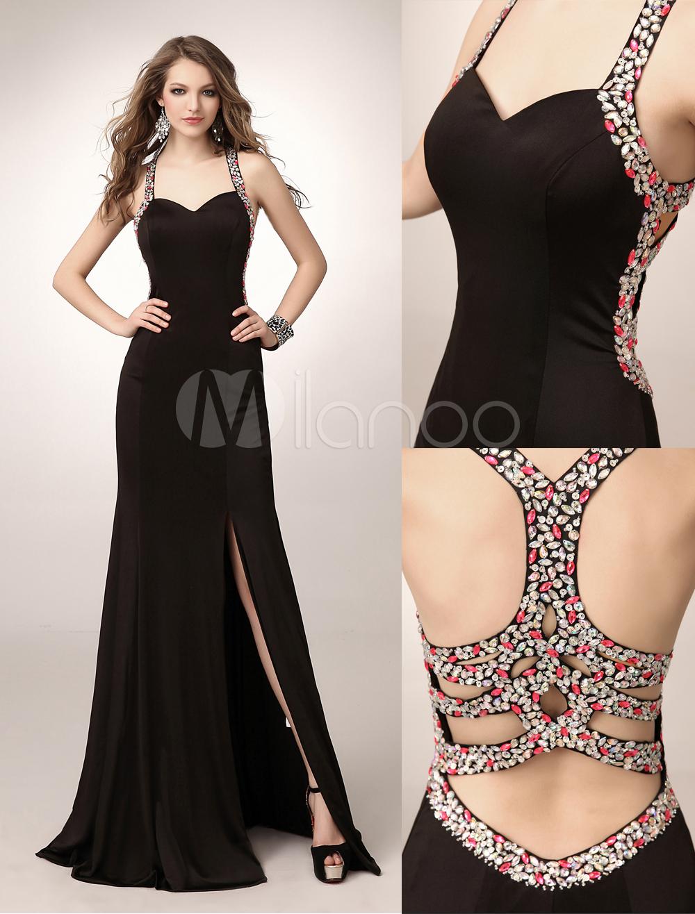 084dd6b7da1 Another beautiful prom-style dress from Milanoo. Black Rhinestone Mermaid  ...