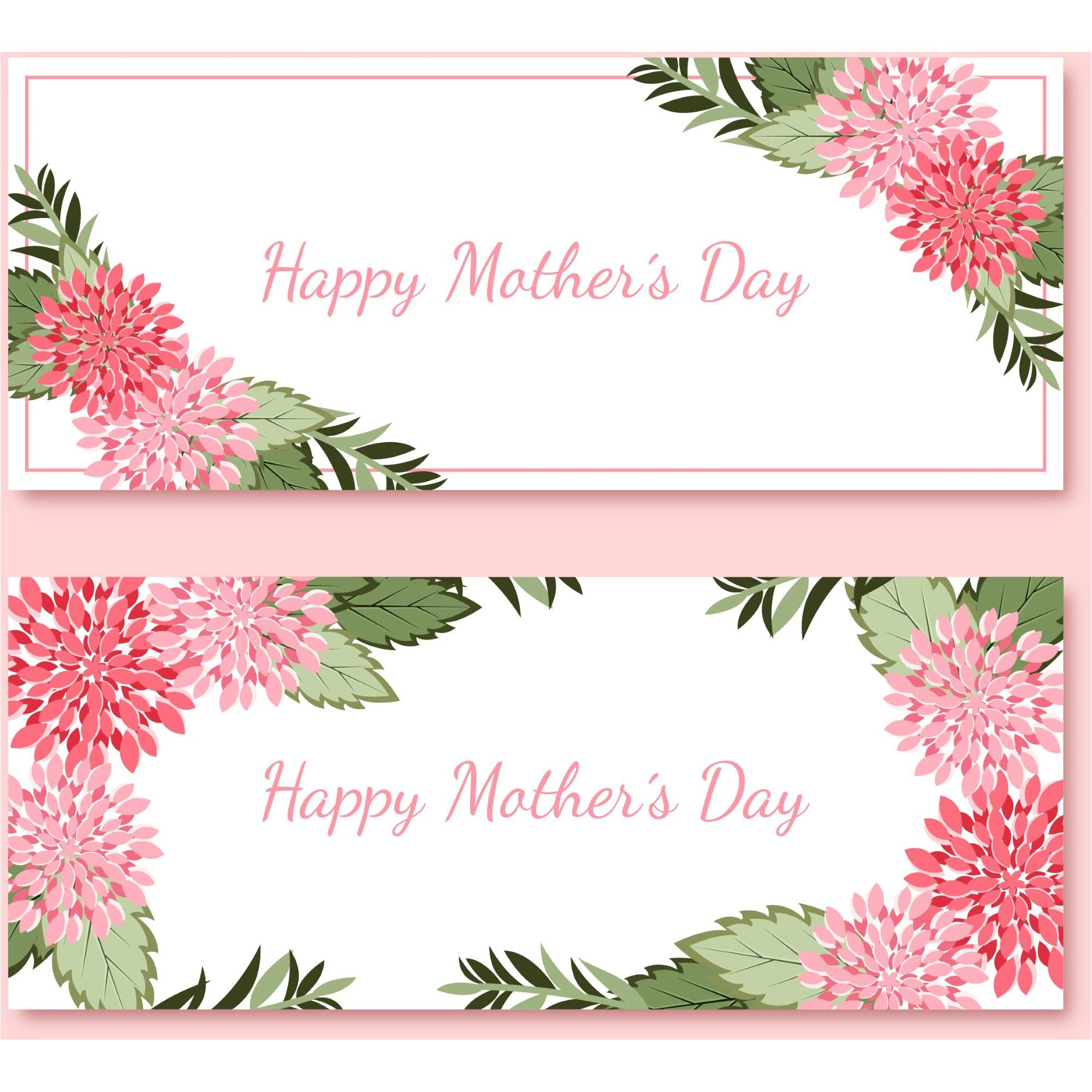 Happy Mothers Day Banners Cards Set Design 2017 Vector 500 Best