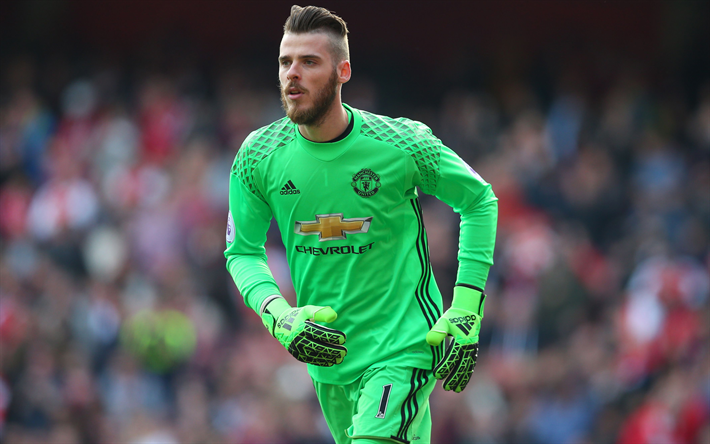 reputable site 0b7f4 7c386 Download wallpapers David de Gea, 4K, Spanish goalkeeper ...