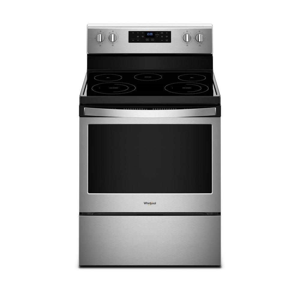 Whirlpool 5 3 Cu Ft Electric Range With Self Cleaning Oven In Stainless Steel Wfe525s0hs Freestanding Electric Ranges Electric Range Self Cleaning Ovens