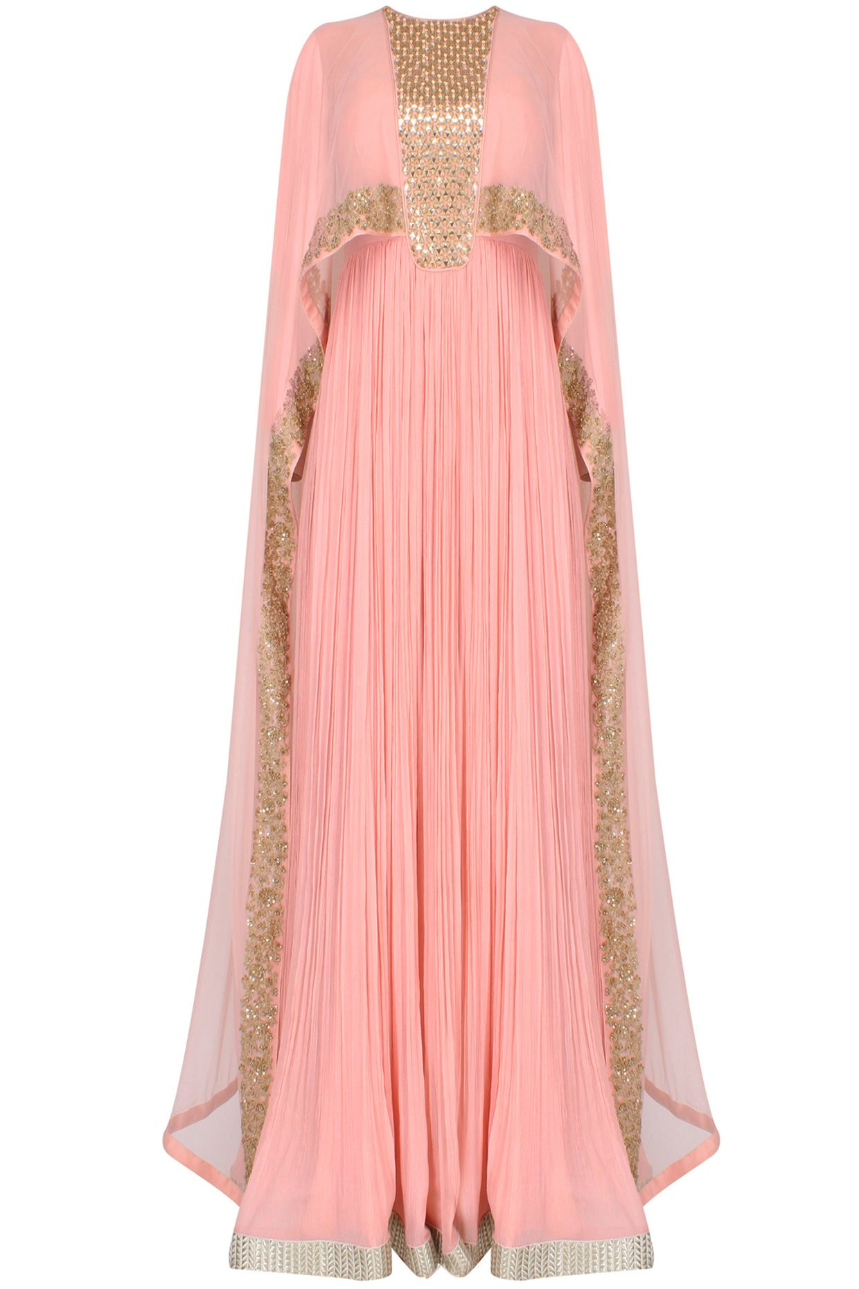 bd4eb3fbadd98 Pink pleated anarkali set with attached mirror work sheer cape available  only at Pernia's Pop Up Shop.