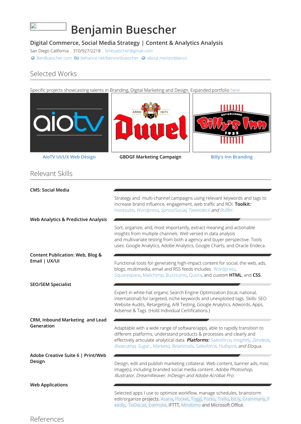 Online Marketing Resume Samples & Templates VisualCV