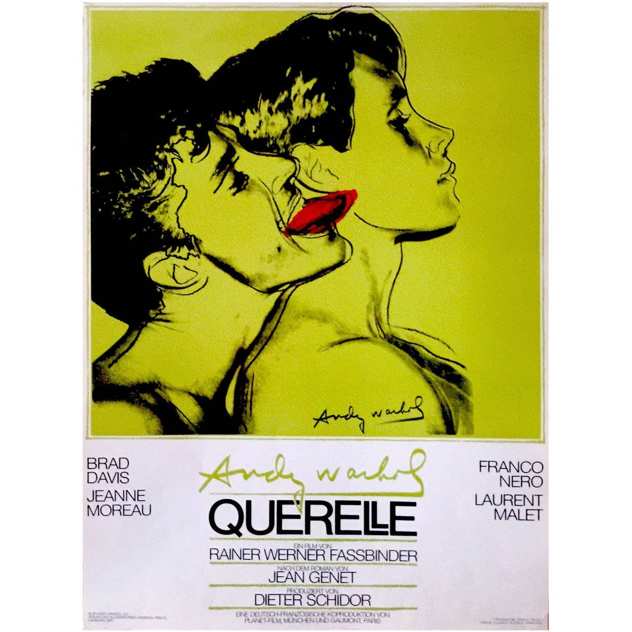German Pop Period Movie Poster for Querelle \'Green\' by Andy Warhol ...