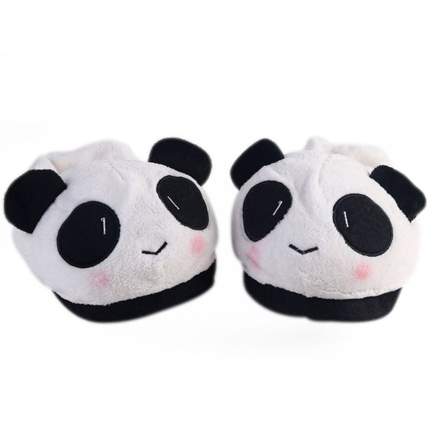 5094aefd572 Cute Lovely Cartoon Indoor Panda Face Slippers Home Anti-slip Lover Women  Men Winter Household Thermal Homing Shoes Slipper