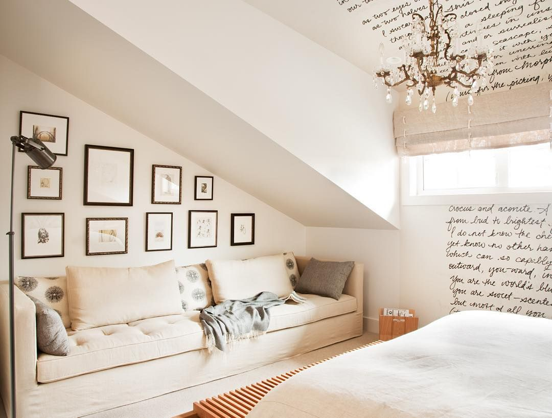 Kellydeckdesign On Instagram Sloped Ceilings Make For A Cozy Corner To Retreat From The World On A Lazy Sunday Luxuryi Home Slanted Walls Attic Renovation