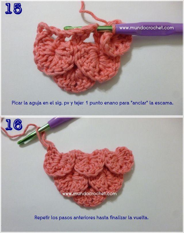 Como tejer el punto cocodrilo o escama a crochet o ganchillo ...