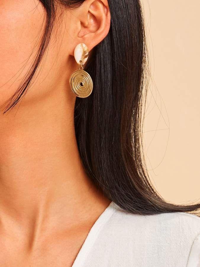 2a48ec3e2f Shein Hollow Swirl Circle Decor Shell Drop Earrings 1pair in 2019 ...