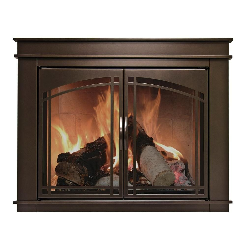 Pleasant Hearth Fenwick Large Glass Fireplace Doors Fn 5702
