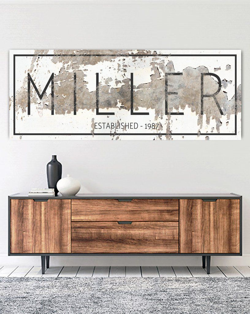 The Miller Sign Personalized Chippy Farmhouse Canvas Wall Art Nlsc0117 Decor Modern Farmhouse Living Room Decor Home Decor