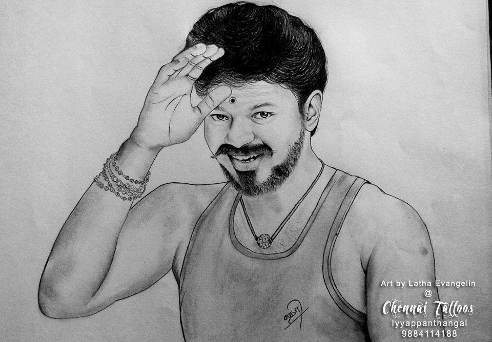 Vijay Drawing Actorvijay Vijay Mersaldrawing Actorvijay
