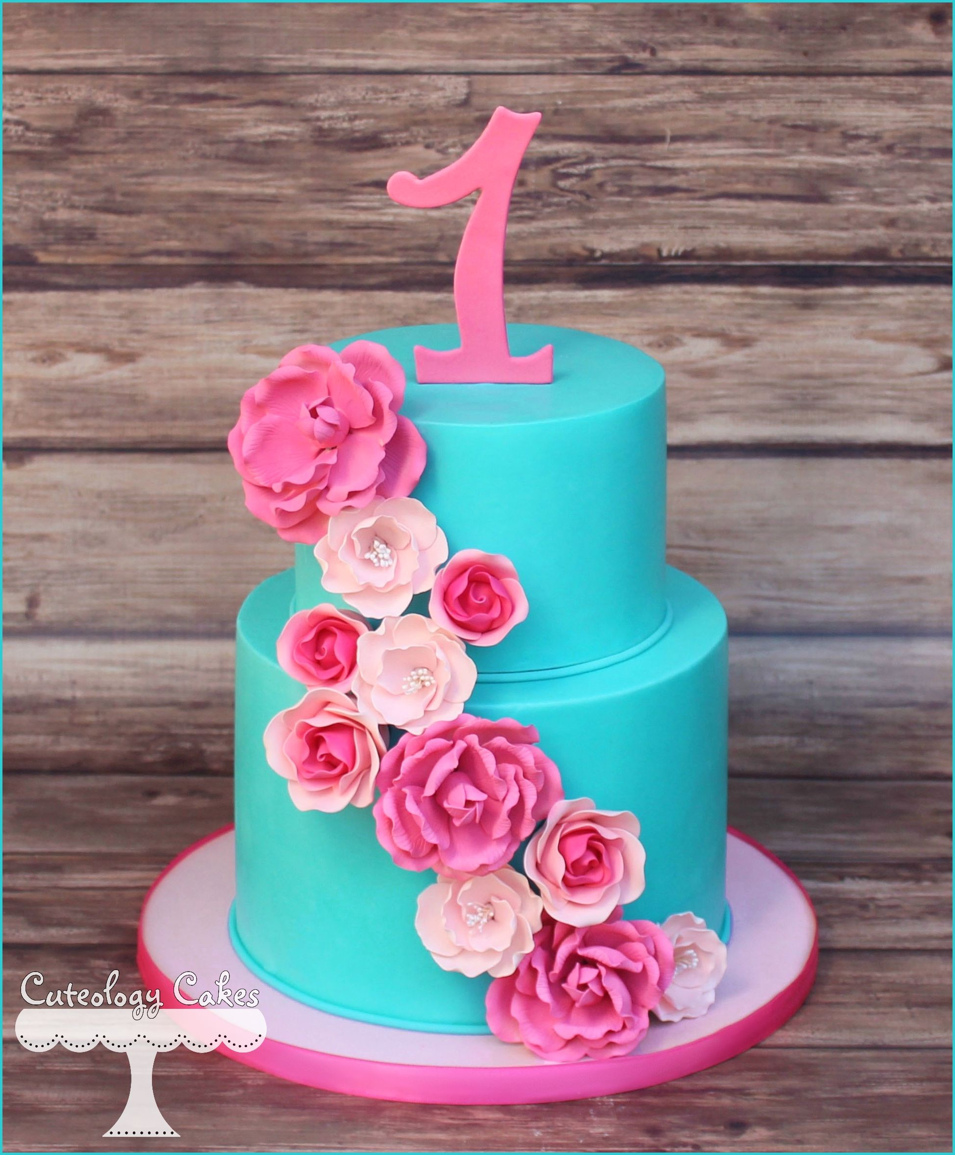 Teal and Pink 1st Birthday cake with flowers wwwfacebookcomi