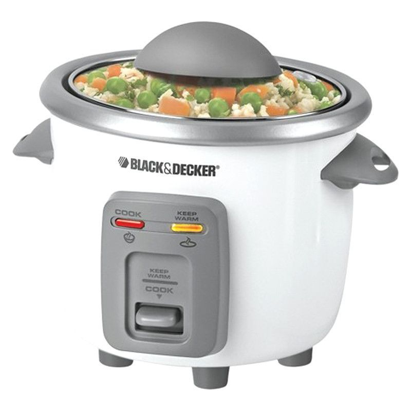 B&D RC3303 Rice Cooker 3 Cup Automatic Glass Lid Nonstick Pot