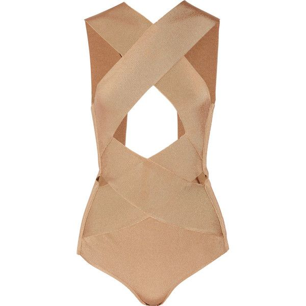Balmain Cutout satin-bandage bodysuit ($1,355) ❤ liked on Polyvore featuring intimates, shapewear, bodysuit, tops, balmain, bodies, body suits and brown