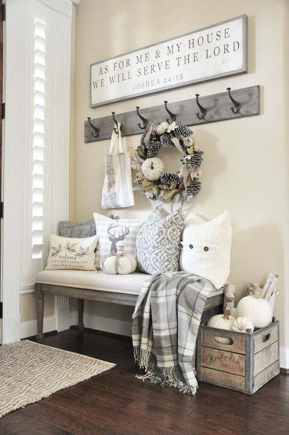 Autumnu0027s In The Air Fall Home Tour. Entryway HooksFront Entryway DecorRustic  ...