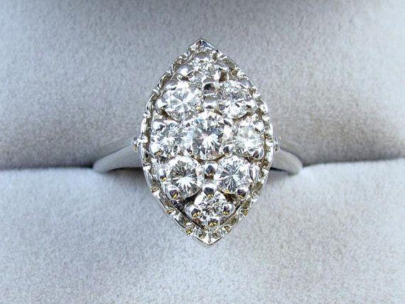 Signed Coronation Vintage 14k White Gold 1 35 Carat Diamond Cluster Cocktail Dinner Ring White Gold 14k White Gold Diamond Cluster