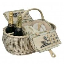 Willow boat picnic hamper basket for four persons - open