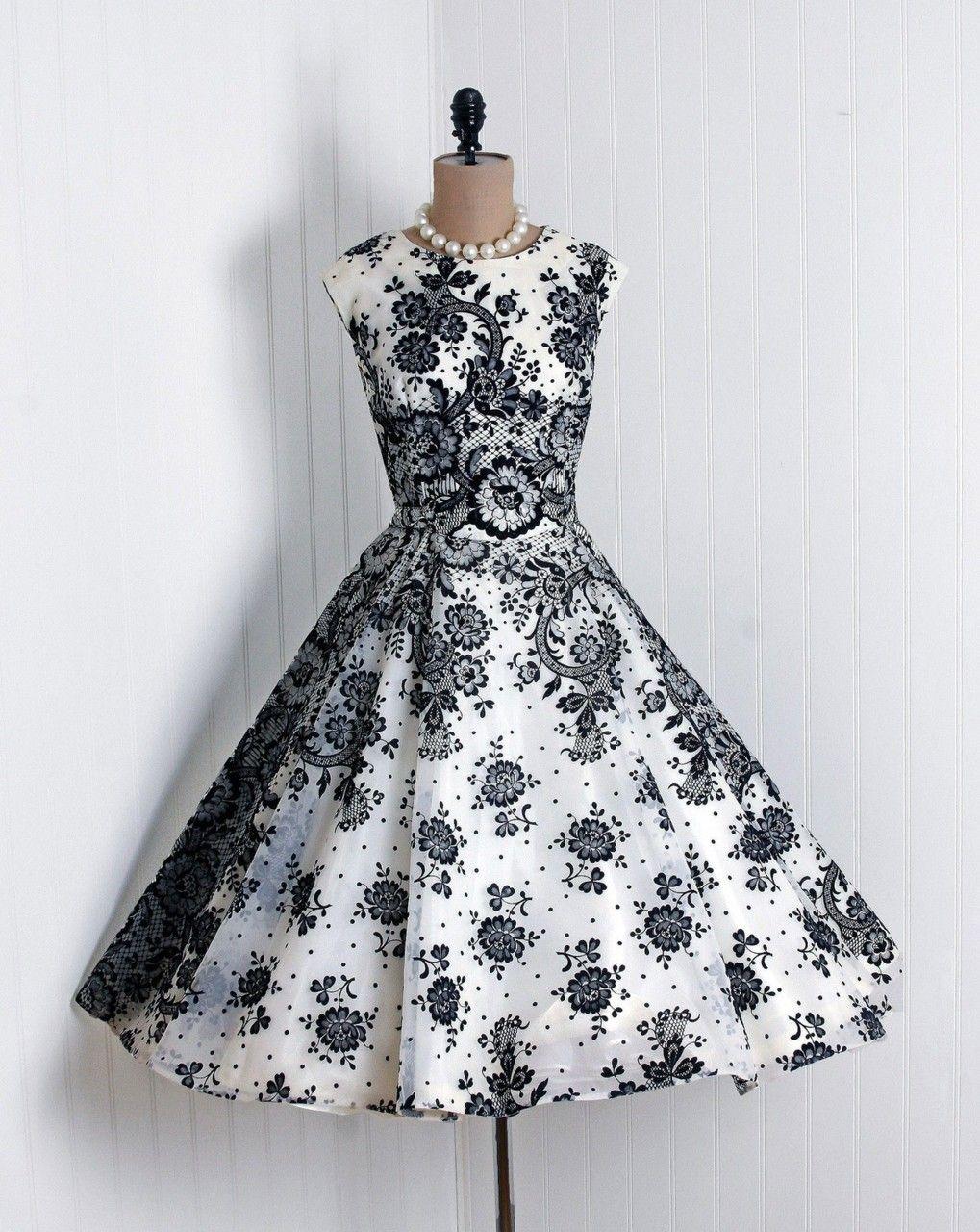 1950\'s Vintage Ethereal Ivory-White and Black Floral-Garden Flocked ...