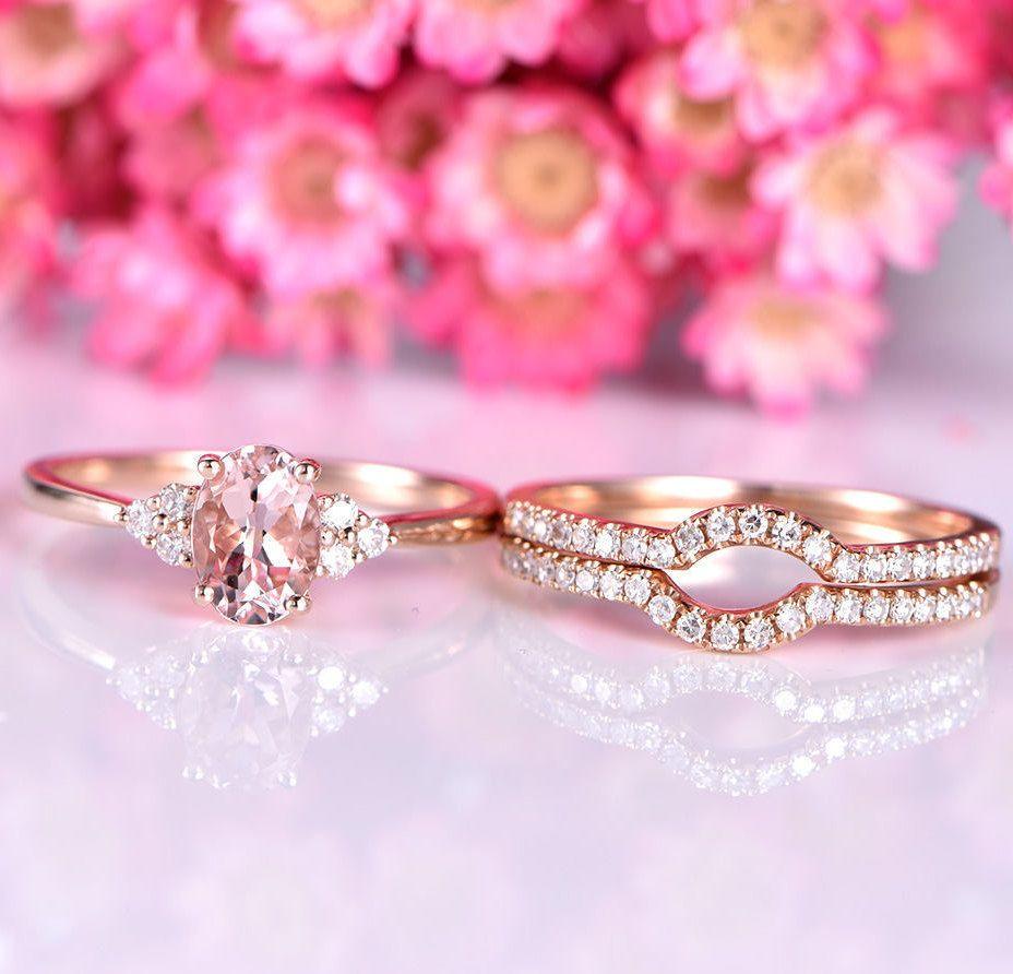 Morganite engagement ring set 5x7mm oval cut natural morganite ring ...