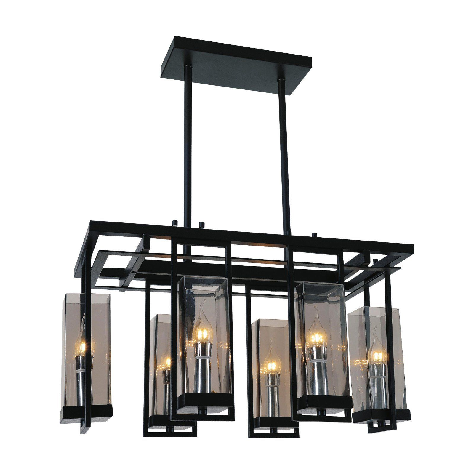 6 Light Black and Wood Rectangular Linear Chandelier with