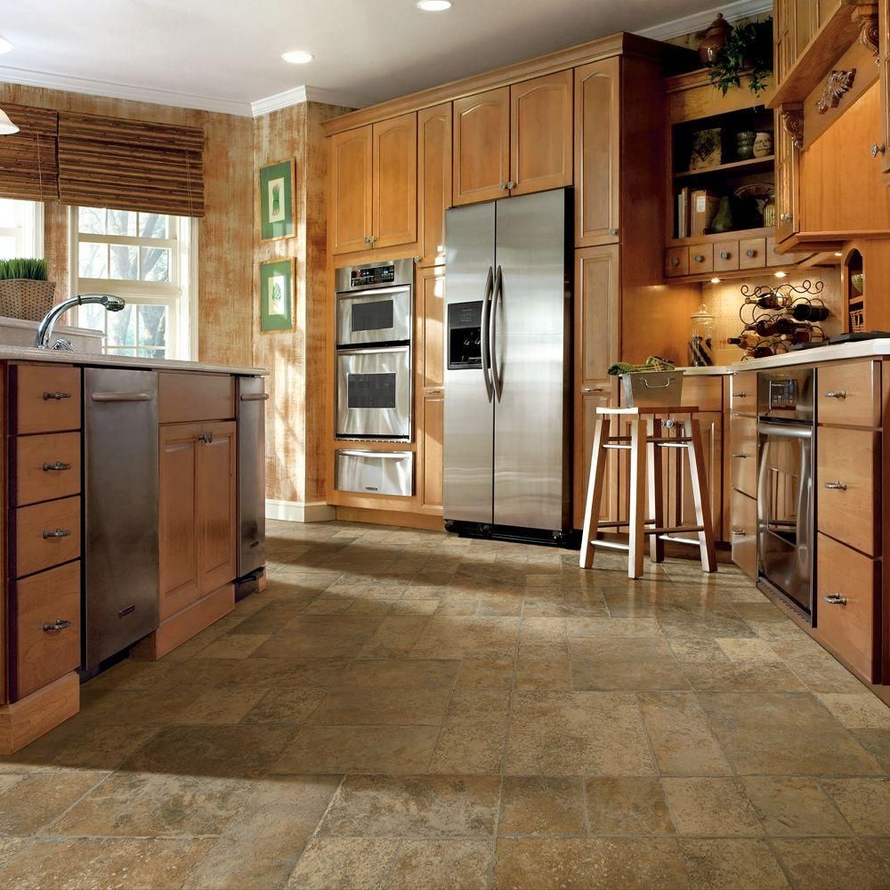 Tile flooring for kitchen  Bruce Aged Terracotta  mm Thick x  in Wide x  in Length