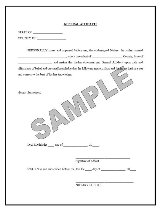 Printable Sample Affidavit Form Form  Real Estate Forms