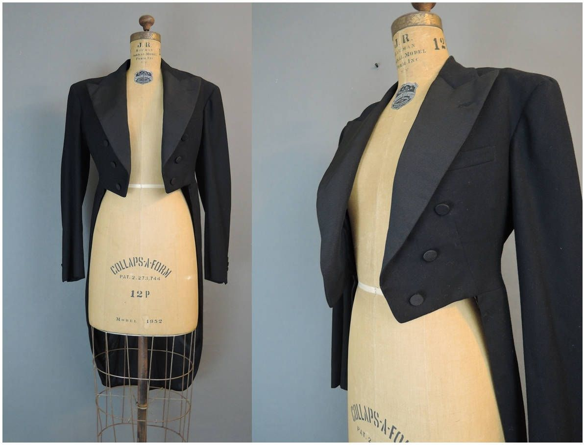 Mens Vintage 1930s Tuxedo Tails Jacket, Small 36 Chest, Black Wool ...
