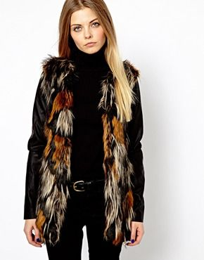 Vero Moda Mixed Colour Faux Fur With Leather Look Sleeve