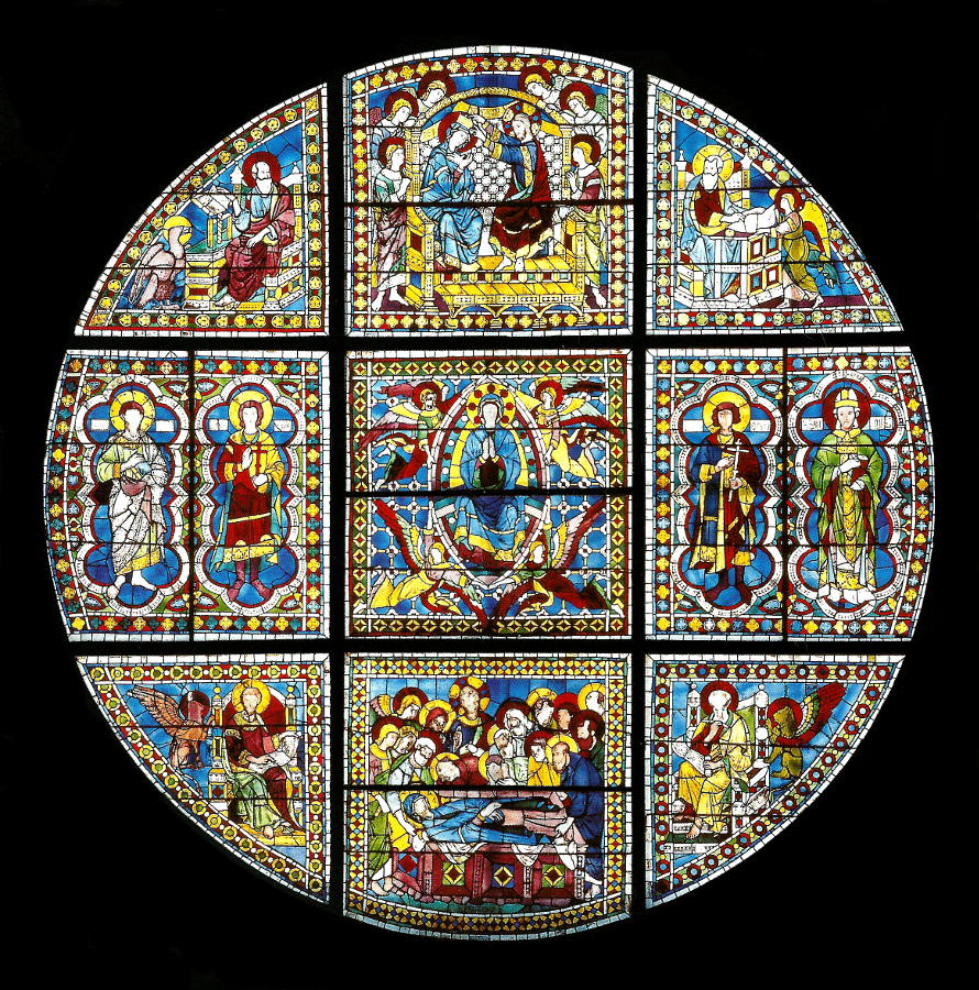 Duccio di Boninsegna Vetrata del Duomo di Siena (1287-1288). L'originale della vetrata disegnata da Duccio è conservata, al riparo dalle intemperie, nel museo dell'Opera del Duomo mentre quella attualmente in Cattedrale è una copia. Cliccando il link https://picasaweb.google.com/110716801192989849499/LaVetrataDelDuomo?noredirect=1 si aprirà una cartella Picasa ricca, oltreché dell'immagine intera in migliore risoluzione, di un cospicuo numero di ingrandimenti ... da non perdere ...