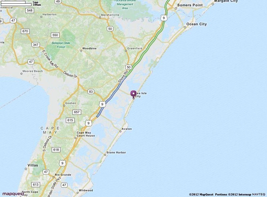 Sea Isle City, NJ Map | MapQuest click see larger stone harbor, sea ...