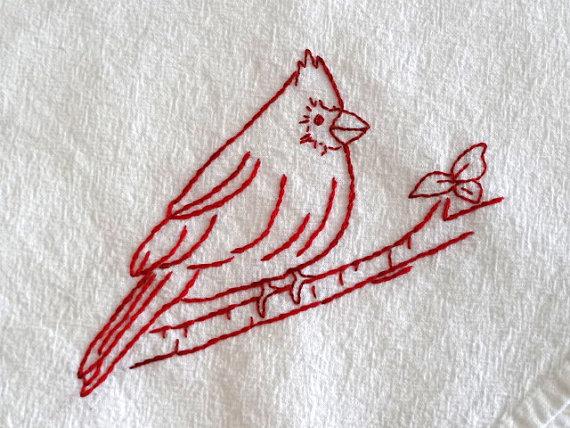 Redwork Cardinal Bird Flour Sack Towel Kit Hand Embroidery Pattern