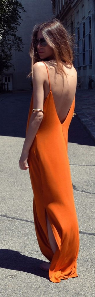 Try and orange maxi dress to compliment that tanned skin for Summer.