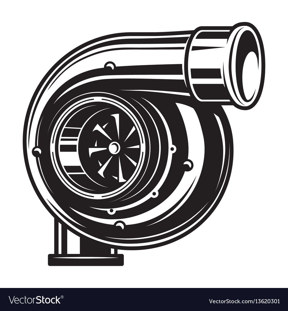 Isolated monochrome of car turbo vector image on VectorStock