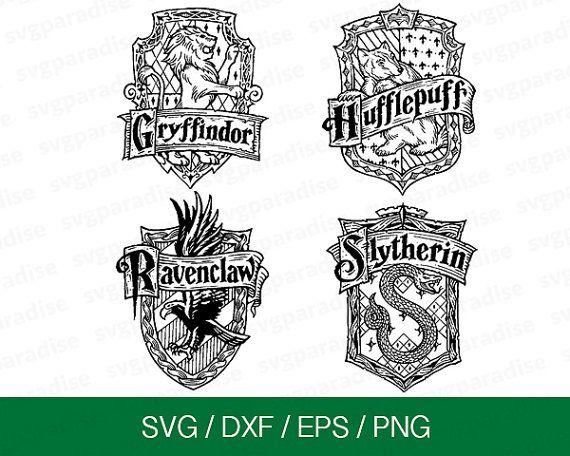 Harry Potter House Badge Svg Hogwarts Badges Svg Gryffindor Svg Slytherin Badge Svg Eps Harry Potter Silhouette Harry Potter Free Silhouette Cameo Projects
