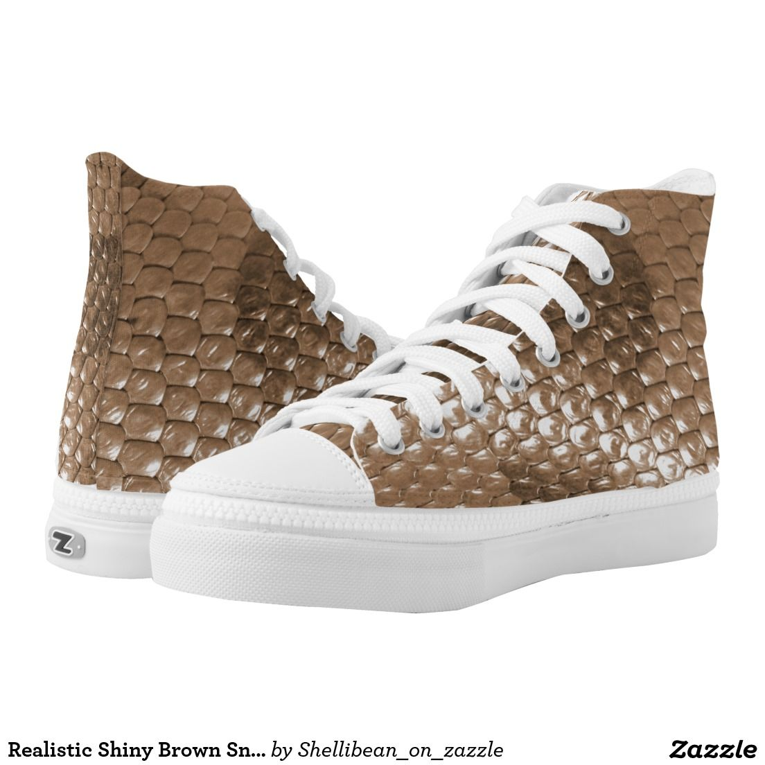 Realistic Shiny Brown Snakeskin Look Printed Shoes