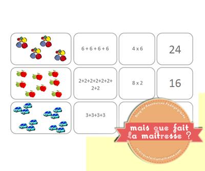 L Addition Reiteree Cette Activite Sera Proposee Sur Deux Temps 1 X2f La Serie De Trois Cartes A Remettre Mathematiques Multiplication Activites De Tri