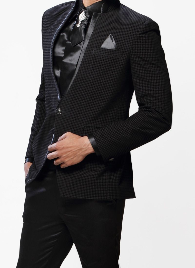 Black Men Fashion Trends 2013 | Black Fancy Fabric Suit Mens Trend ...