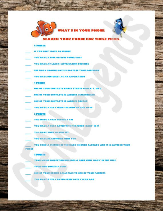 Finding Nemo Theme Games, Baby Shower Games, Baby Shower Games Boy, Baby  Shower Game Printable, Finding Nemo Baby Shower, DIGITAL DOWNLOAD