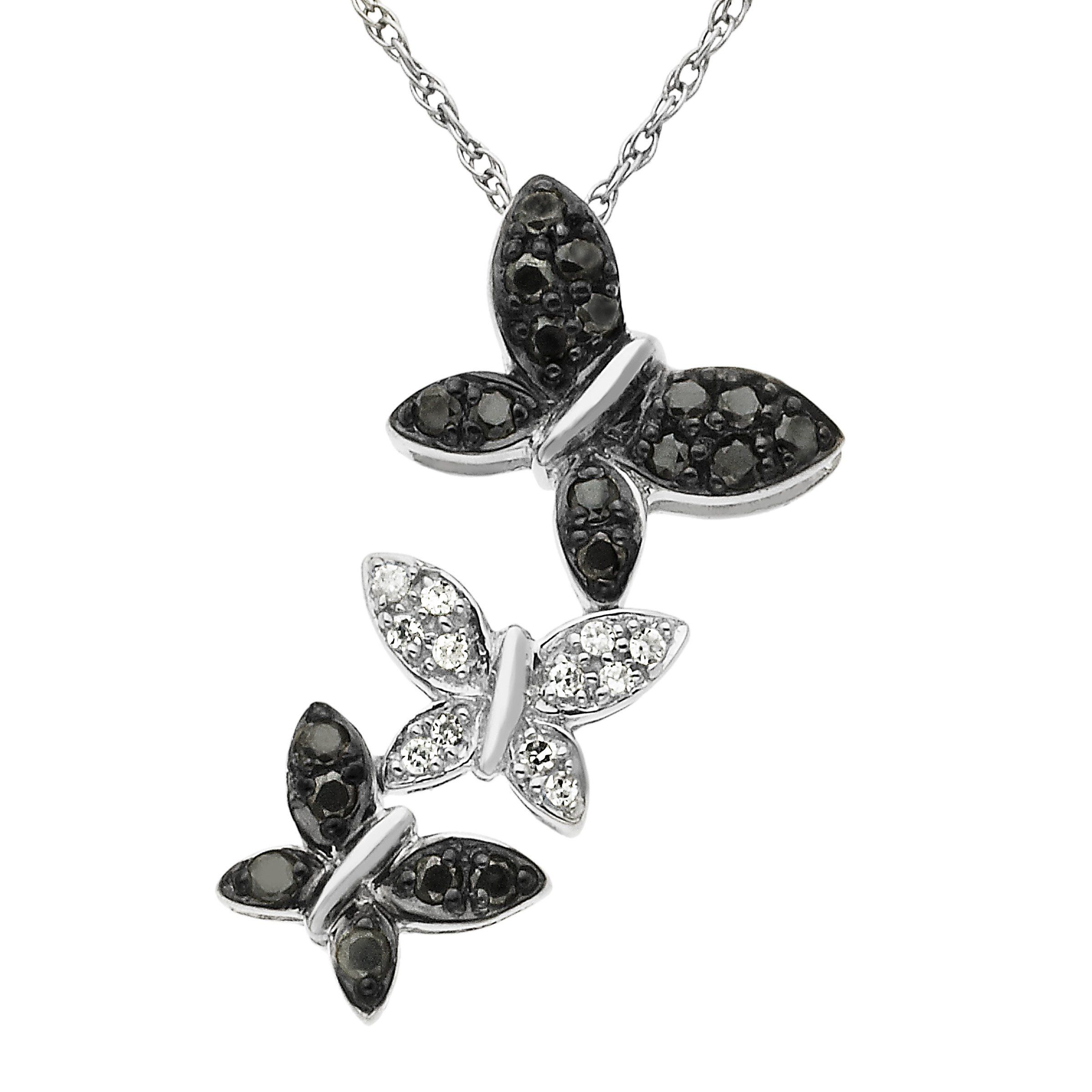 1/5 ct Black and White Diamond Butterfly Pendant Necklace