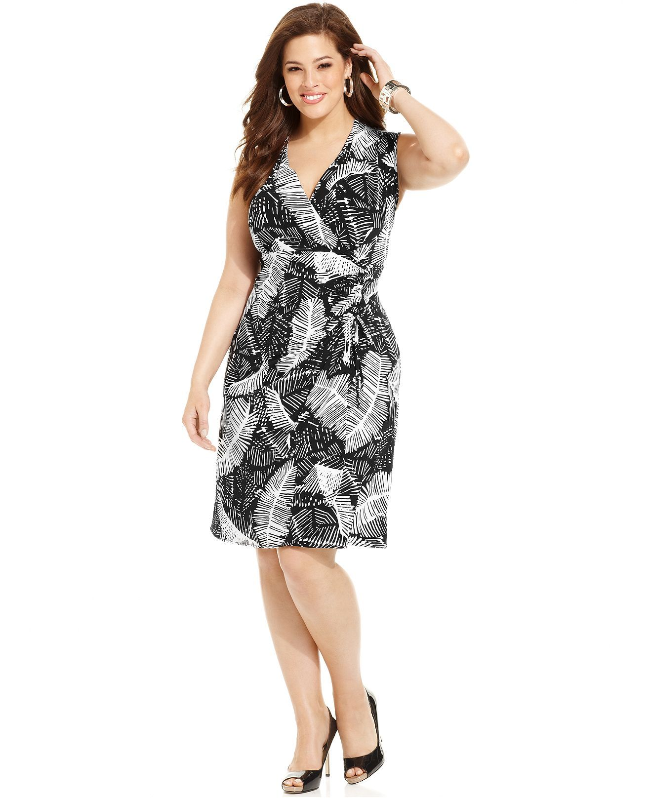 Jones New York Signature Plus Size Dress, Sleeveless Printed Wrap ...