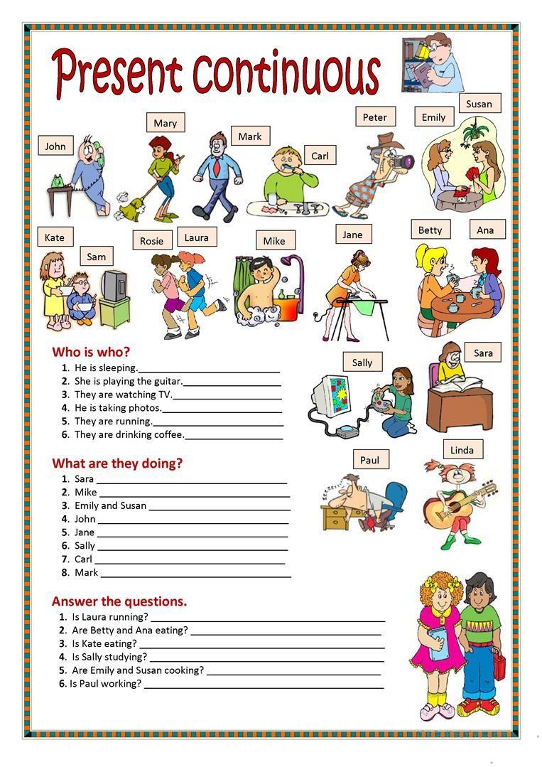 Present Continuous Worksheet Free Esl Printable