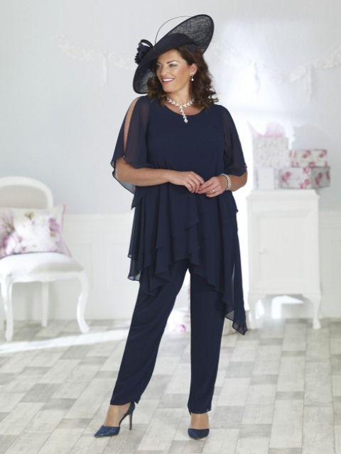 fe8593c01640 Veromia navy plus size floaty chiffon trouser suit .Size 24.Wedding Pearls