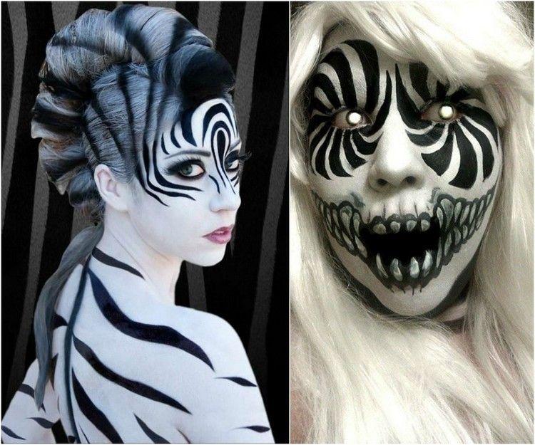 Halloween Makeup Ideen Zebra Streifen Gruselig Schwarz Weiss Cool