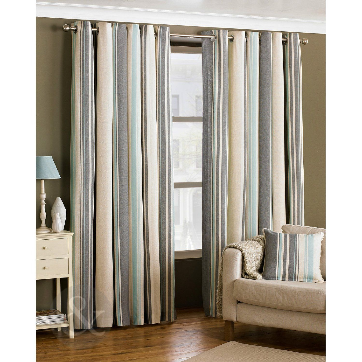 Ready Made Striped Eyelet Curtains Lined Cream Grey Duck Egg Blue Curtain Pair Duck Egg Blue Gr Brown Living Room Duck Egg Curtains Brown Living Room Decor