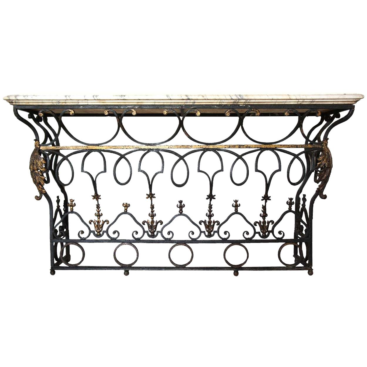 French Marble Top Wrought Iron Balcony As A Console Table From A