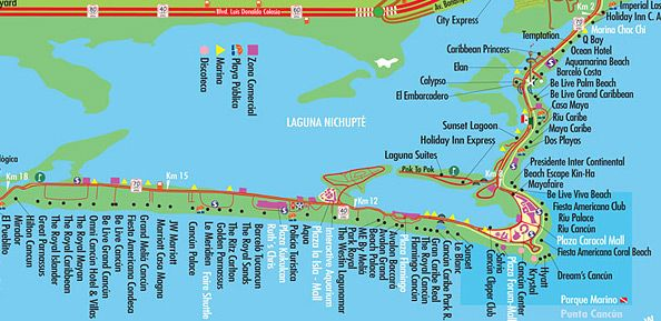 Cancun map with hotel locations   Cancun   Pinterest   Cancun ...