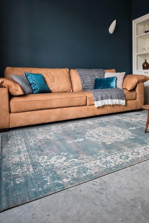 vloerkleed medaillon vintage stoer grijs blauw 160x230 - woonkamer ...