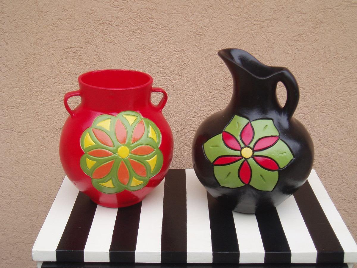 Jarrones de ceramica pintados al estilo mexicano 13558 - Jarrones de ceramica ...