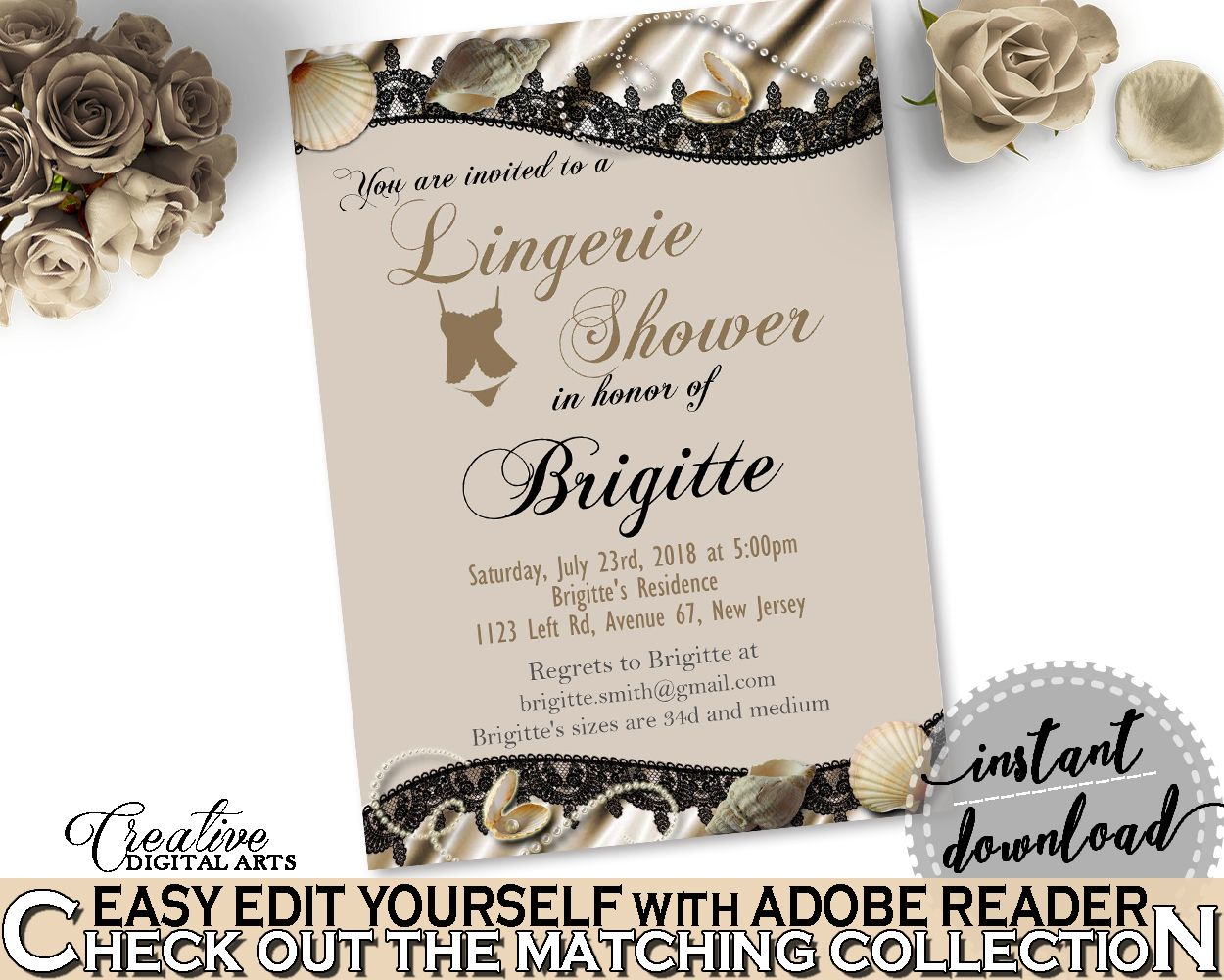 Gmail themes night - Brown And Beige Seashells And Pearls Bridal Shower Theme Lingerie Shower Invitation Editable Hens Night Party Plan Prints 65924