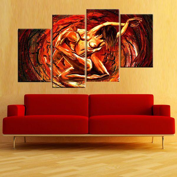 Quadri astratti con uomo e donna dipinti a mano olio su for Immagini dipinti astratti
