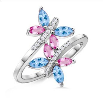 Angara Emerald and Sapphire Butterfly Ring in Yellow Gold nIUPVV85j